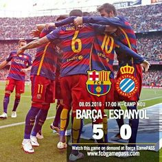 [FULL-TIME | FINAL] FC Barcelona vs RCD Espanyol (5-0) Goals: Messi (8'), Suárez (52' | 61'), Rafinha (74'), Neymar Jr (83') --- All about the match at www.fcbarcelona.com Tot sobre el partit a www.fcbarcelona.cat Todo sobre el partido en www.fcbarcelona.es --- #FCBEspanyol #FCBLive #LaLiga Força Barça!
