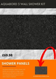 Aquabord Midnight Galaxy shower wall panels are surfaced in a high quality laminate and offer all the advantages of a hardwearing decorative surface that is easy to maintain. Aquabord is warm to the touch and provides a practical and tactile alternative to tiles. Shower Wall Kits, Shower Wall Panels, Base Trim, Tiles, Alternative, Surface, Touch, Warm, Room Tiles