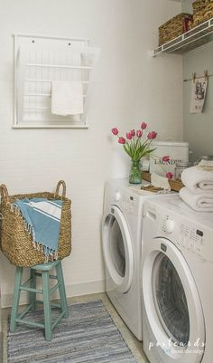So many great ideas for refreshing a tiny laundry room on a budget. Love the way it turned out!