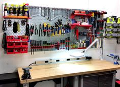 A brand new workspace setup and ready to go with Wall Control Metal Pegboard! Upgrade your garage with Wall Control's heavy-duty, tough-looking, and long-lasting metal pegboard system! Thanks for the great customer photo Petar!