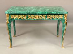 OnlineGalleries.com - Late 19th Century Gilt Bronze Mounted Louis XV Style Malachite Center Table