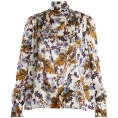Erdem Inessa neck-tie floral-print silk blouse ($1,293) ❤ liked on Polyvore featuring tops, blouses, blue print, floral silk blouse, neck-tie, blue silk blouse, neck tie blouse and print blouse
