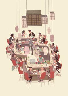 - sushi train by Steve Scott, via Behance. ¿Qué tipo de cocina prefieres y por qué?¿hay algún tipo de comida que no comas?¿por qué?¿te gusta probar cosas nuevas o prefieres comer lo de siempre?¿dulce o salado? Hablamos de gustos, sabores, comidas y dietas.