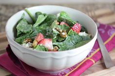 A Zesty Bite » Strawberry Spinach Salad with Poppy Seed Dressing
