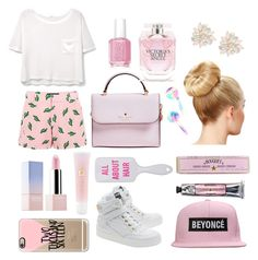 """Untitled #1"" by naomieugenia ❤ liked on Polyvore featuring American Retro, MANGO, Kate Spade, Cara, Essie, Victoria's Secret, Sephora Collection, Lancôme, Soap & Paper Factory and Moschino"