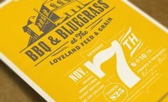 BBQ & Bluegrass at the Loveland Feed & Grain poster design for Novo Restoration, Inc. Vintage Typography, Typography Letters, Typography Logo, Graphic Design Typography, Lettering, Logos, Design Art, Print Design, Wedding Reception Design