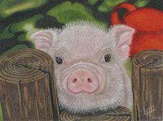 little pig de arteyayiloren en Etsy, láminas decorativas, ilustraciones, ilustration, pencil drawings, lápices de colores
