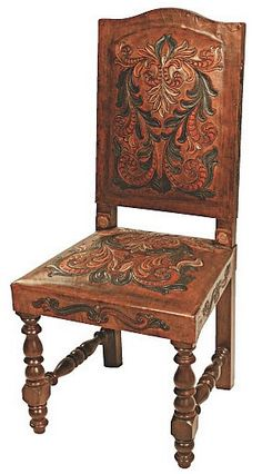 Heritage Fernando Chair Painted Set of 4 - Beautiful hand carved and hand painted leather upholstery on a sturdy frame of seasoned wood, finished in a rich dark stain. Upscale Furniture, Furniture Care, Western Furniture, Rustic Furniture, Furniture Decor, Decoupage Furniture, Painted Furniture, Furniture Design, Leather Carving