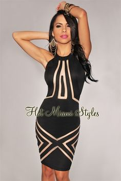 ec47a7f58494 Black Nude Mesh Inserts Dress - Inspired by Kelly Rowland Sexy Gown