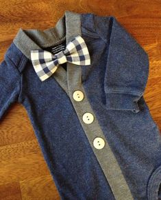 Baby Cardigan One Piece Bow Tie Set, Navy Infant Cardigan with Clip on Bow Tie, Cardigan Bodysuit