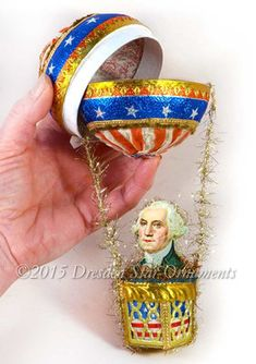 Deluxe George Washington All Paper And Fabric Hot Air Balloon Candy Container Antique Christmas, Primitive Christmas, Primitive Crafts, Country Christmas, Christmas Craft Show, Father Christmas, Christmas Christmas, Christmas Ornaments, Fourth Of July Decor
