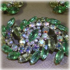 Vintage Green and AB Rhinestone Brooch and Earrings. $62.00