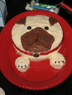 """Pug Cake (Ellie's 3rd Birthday). She loved her """"Lizzi cake,"""" especially the cupcake paws."""