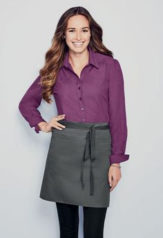 Simon Jersey NEW chambray blouse stylish, smart and durable perfect for… Cafe Uniform, Waiter Uniform, Waitress Outfit, Waitress Apron, Staff Uniforms, Work Uniforms, Office Blouse, Work Blouse, Restaurant Uniforms