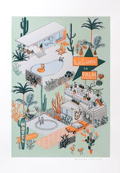 Brand new print edition from artist Jacqueline Colley & to Palm Springs& Available from Print Club London& site now and only shop now! Palm Springs Style, Palm Springs Map, Retro Graphic Design, Retro Wallpaper, Mid Century Art, Vintage Posters, Drawing, Illustrators, Screen Printing