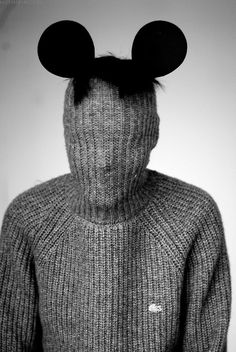 Micky Mouse Hat in Turtleneck Sweater.