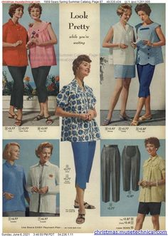 Fifties Fashion, Vintage Fashion, Pedal Pushers, Christmas Catalogs, Fashion History, Maternity Fashion, How To Look Pretty, Vintage Outfits, Spring Summer