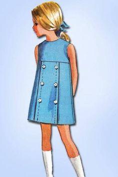 1960s Sweet Girls Mod Style Jumper Pattern Unused 1964 McCall Design Size 14 | eBay Vintage Girls Dresses, Little Girl Dresses, Vintage Outfits, 1960s Fashion Women, Mod Fashion, Sewing Patterns Girls, Vintage Patterns, Pretty Little Dress, Jumper Patterns