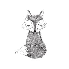 Happy Fox! Mijksje | ontwerp | vos | fox | pentekening | drawing | tekening | handgetekend | zwart-wit | design | illustratie | illustration