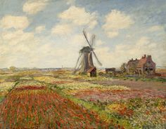 CLAUDE MONET : Un champ de tulipes en Hollande, 1886