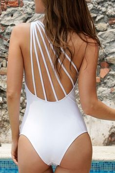 163325326e9 One piece SwimSuit Fashion Sexy Black White One-Piece Bathing Suit Solid One  shoulder monokini Strappy Swimsuits 1638-2