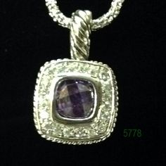 """Amethyst Silver Bezel with Clear CZ Pave Lobster Claw Necklace 16+2"""""""