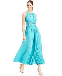 NEW $119 R&M Richards Womens Aqua Sleeveless Beaded Waist Halter Gown Dress 14 #RMRichards #BallGown #Cocktail