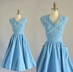 Vintage 50s Dress/ 1950s Cotton Dress/ Blue and White Sundress w/ Front Pockets Ric-Rac M on Etsy, $140.46 AUD