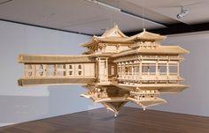 1 – Floating Temple Wood Sculpture by Takahiro Iwasaki