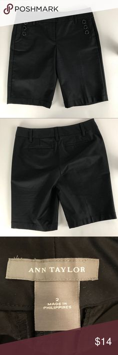 "Ann Taylor Size 2 black Bermuda shorts Please check photos. Pre-owned condition. Waist 15"", 9"" rise, 9"" cuff and 10.5"" inseam approximate measurements. Smoke free/pet Friendly home. Make sure to check out my other listings, thanks for looking! J223 Ann Taylor Shorts Bermudas"