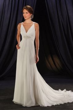 Perfect V-Neck High Wasitline Column Chiffon Satin Beach Wedding Garments