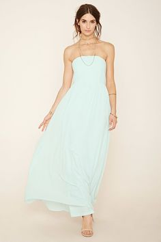 FOREVER 21 Contemporary Strapless Chiffon Maxi Dress