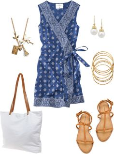 "LOVE THE DRESS. ""Blue and White"" by bluehydrangea ❤ liked on Polyvore"