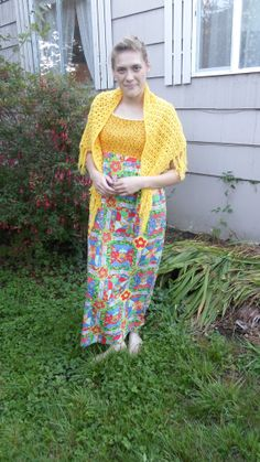 Bright '70s maxi dress with yellow top by FernsAndFogVintage, $27.00