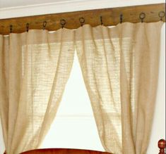 Charming Easy Country Curtain Rod...1x6, Wood Stain, Rusty Nails, Curtain