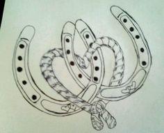 Interlocked horseshoes & rope