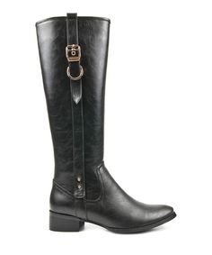 Black side belted knee-high boots  by Alex Silva on secretsales.com