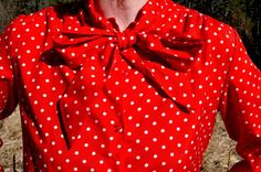 Red Polka Dot Button up Secretary Blouse by by CrystalBallVintage
