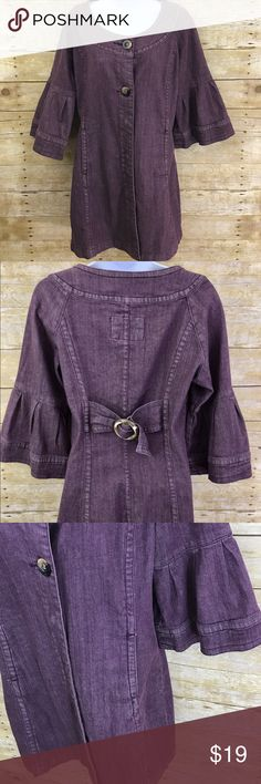 """Anthropologie Purple Denim Coat Victorian Sz Med Anthropologie Live a Little Purple Denim Coat Med Bell Sleeve Fitted Victorian - 3/4 Length Sleeves   ✅Size: Women's Size Medium ✅Condition Notes: Excellent Used Condition - Like New! ✅Approximate Measurements Laying Flat: Length: 32.5"""" Waist: 32"""" Bust: 36"""" Anthropologie Jackets & Coats"""