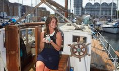 10 years living on a boat - Its a fun life. Smillie enjoys a cup of tea on her boat in South dock marina, Deptford. Liveaboard Sailboat, Liveaboard Boats, Sailboat Living, Living On A Boat, Boat Building Plans, Boat Plans, Boat Insurance, Boat Lift, Boat Stuff