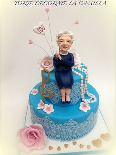 My Grandmother 100 years old cake - by LaCamilla @ CakesDecor.com - cake decorating website