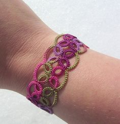 love this with the variegated yarn..tatted bracelet lace cuff bracelet lace bracelet by MamaTats, $15.00