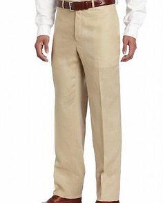d91326fb6c Calvin Klein NEW Beige Mens Size 34X30 Flat Front Linen Pants  85  858 DEAL