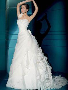 Demetrios Illusions 3170 Satin Organza Wedding Dress - Nearly Newlywed Wedding Dress Shop