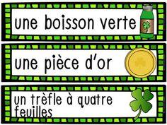 La Saint-Patrick - 28 mots de vocabulaire GRATUIT! French Saint Patrick, Four Leaf Clover, Vocabulary Words, Drink, Reading, San Patrick