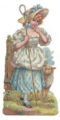 Victorian Die Cut Scrap Little Bo-Peep