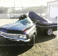 A 1966 Chevy Impala neatly folded in half. Junkyard Cars, Abandoned Cars, Car Crash, Drag Cars, Us Cars, Chevrolet Impala, Cars And Motorcycles, Muscle Cars, Super Cars