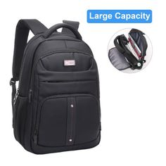 CrossLandy Black Business Laptop Backpack For Men Backpacks Adults With Rain Cover Travel Bag