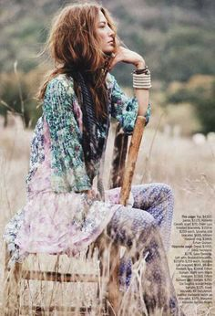Fashion photo woman in a field boho, 70's, free spirit, fashion, hippie, boho, boho-chic, inspiration, womens fashion, clothing, idea, high street, designer, free people