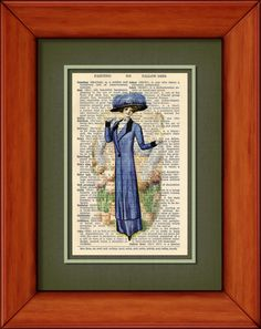Dictionary Print  Lady In Blue  6 3/4 x 9 3/4 by PagesOfAges, $7.00